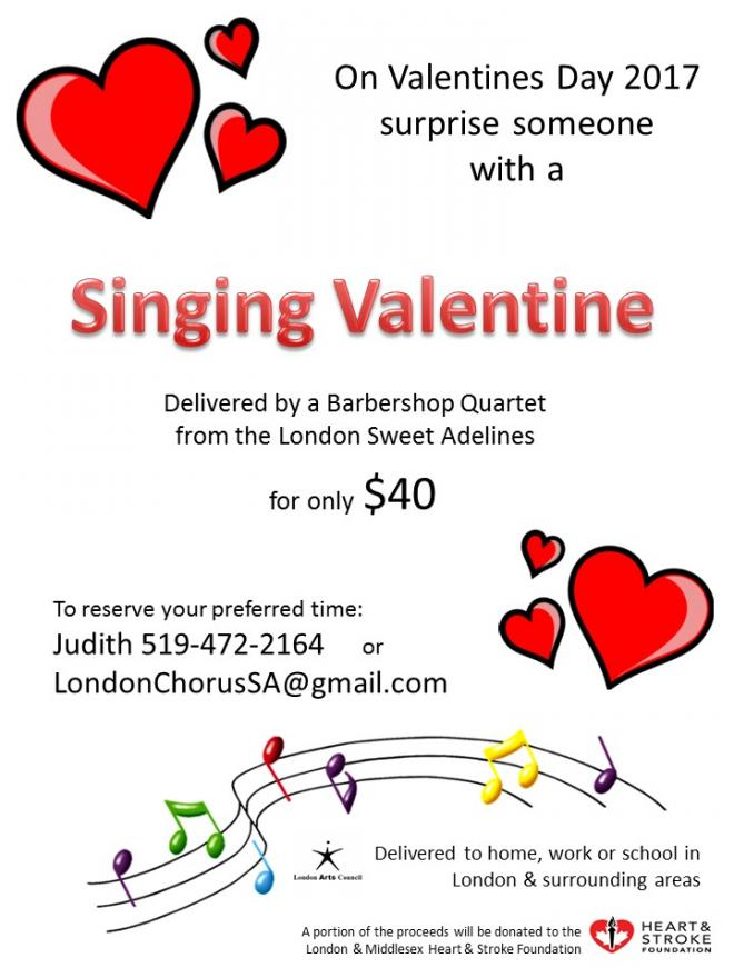 call judith at 519 472 2164 or email londonchorussagmailcom to book your preferred time to send a singing valentines to your special someone - Singing Valentine