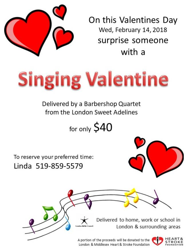 surprise your special someone with a singing valentines delivered by one of our chorus quartets